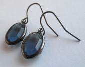 Smoky Blue and Dark Metal Upcycled Dangly Earrings