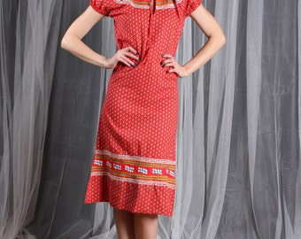 Dress Mexican 1970s Vintage 70s  Red Yellow Rick Rack XS S