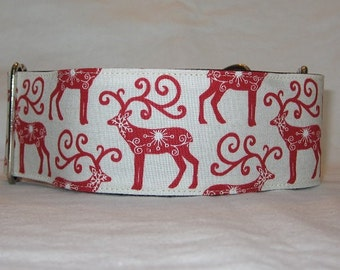 SALE Reindeer Martingale Dog Collar (2 Inch) Christmas winter red cream starry folk star rustic holiday classic reindeer
