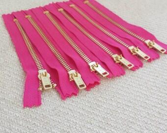 5inch - Fuchsia Pink Metal Zipper - Gold Teeth - 6pcs