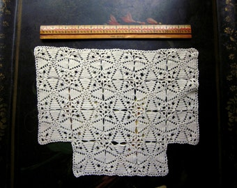 Vintage Crocheted Doily, Natural Cotton,  Chair Back Cover