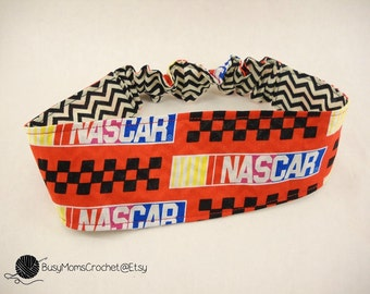 Handmade Nascar fabric women's headband, handmade, elastic headband, Nascar headband FINAL