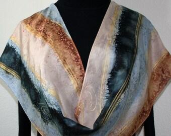 Beige Silk Scarf. Grey Hand Painted Silk. Hand Dyed Silk Scarf GLACIER WIND. Size 11x60. Birthday Gift. Gift-Wrap. Valentine Day Gift.