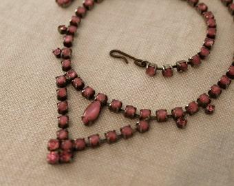 Vintage Pink Rhinestone Necklace