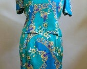 """Vintage Papell Petites 100% Silk Lined/Acetate Matching Short Sleeved Top and Skirt Bust 38"""" Waist 32"""""""