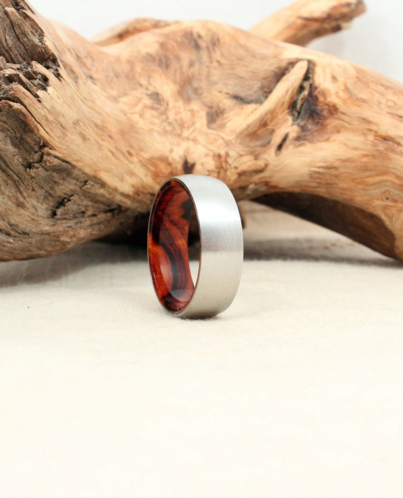 Cobalt Wooden Ring Lined with Arizona Desert Ironwood Burl