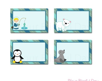 PRINTABLE Arctic Boy Party Label Tents (Character of your choice) #704