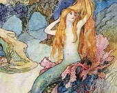 LITTLE MERMAID with COMB 4x6 inch Digital Printable for Tags Cards Paper Crafts Framing Transfer Art...fairy tale fantasy Warwick Goble