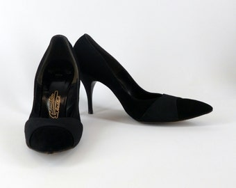 Black Suede Stiletto Pumps, Vintage 1960-1970, Size 7 1/2 AAA, 4 Inch Heels, Womens Shoes