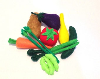 Felt food Vegetable set, eco friendly kids felt pretend play food toy for children play kitchen, felt vegetables set