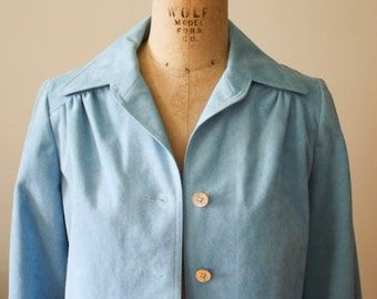 Vera Maxwell Blue Ultra Suede Coat
