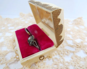 Vintage Double Ring Presentation Ring Box, Wedding, Anniversary, Engagement, Casket Design