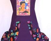 Frida Kahlo, Women's Full Apron, Colorful Ruffled Bottom, Double Pockets
