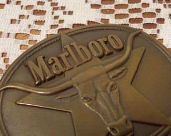 Vintage Solid Brass Marlboro Steer and Star Belt Buckle  -  14-1402