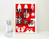 Printable Print - Merry and Bright - Christmas Graphic Print in Red JPG and PDF Download Digital Files Xmas Last Minute Gift