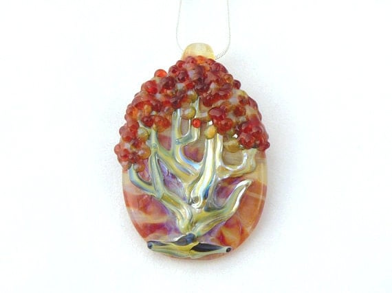 Jubilant Glass Red Tree Pendant   Flamecrafted Borosilicate On Sterling Silver    Free Shipping