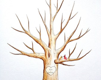 Family Tree. hand painted thumb print Water Color Illustration- Custumize