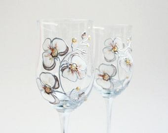 Orchids Wine Glasses Hand Painted, set of 2 , White Cream Silver