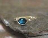 London Blue Topaz Oval Sterling Silver Ring Hammered Band