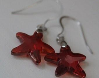 Starfish Earrings, Sterling Silver Earrings, Beach Wedding, Starfish Jewellery, Swarovski Crystal Earrings, Copper, Inspired Scilly