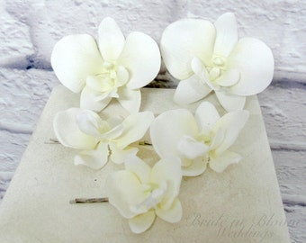 Wedding hair accessories - Orchid hair pins - White real touch orchid set of 5 - Bridal hair accessory