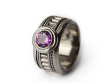 Black Engagement Ring,Special order for Thao Black gold  Ring - Amethyst gemstone, Engraved Personalized Ring