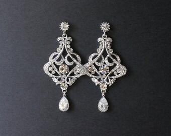 Bridal Chandelier Earrings, Crystal Chandelier Earrings, Crystal Bridal Earrings, Deco Crystal Earrings, Wedding Jewelry, JADE