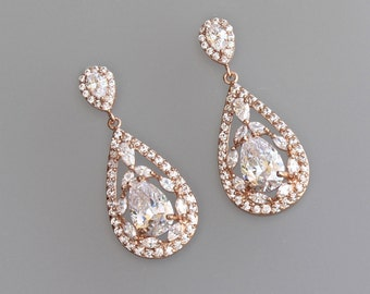 Rose Gold Earrings, Rose Gold Bridal Earrings, Vintage Style Crystal  Earrings, Clip on Option  COCO
