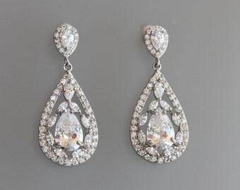 Crystal Bridal Earrings, Teardrop Crystal Earrings, Crystal Bridal Jewelry, Vintage Style Filigree Crystal Earrings, COCO Silver