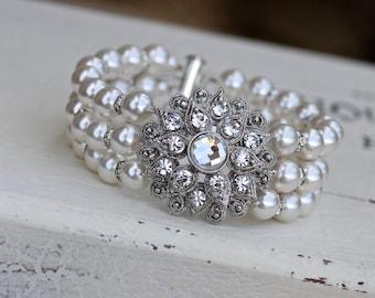 Pearl Bracelet, Pearl Wedding Cuff, Wedding Jewelry, Bridal Jewelry, Bridesmaid Bracelet. AIMEE