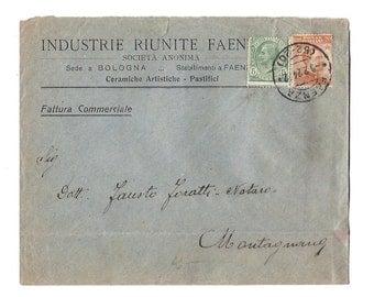 1924 Italian envelope - Handwritten paper ephemera from Italy - From Faenza to Montagnana