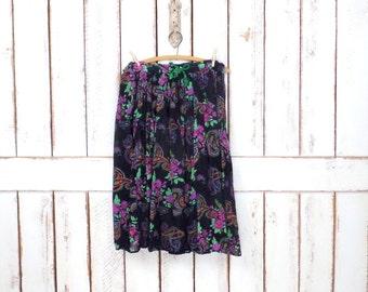 Vintage black/pink/green  floral sheer gauzy cotton boho skirt/midi floral festival gypsy skirt/medium/large