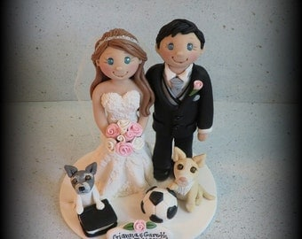 Wedding Cake Topper, Custom, Personalized, Polymer Clay, Bride and Groom, two Pets, soccer ball, book, Wedding/Anniversary Keepsake