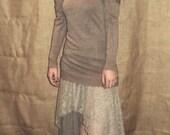 grey / beige lace pointy belly dance bohemian pixie skirt
