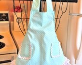 Vintage Retro Style Toddler Girl's Apron in Mint Green