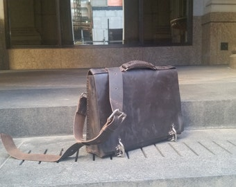 Leather briefcase, Work bag, Mens executive briefcase, Business bags for men, Leather laptop bag, Custom laptop briefcase, Custom made in NY