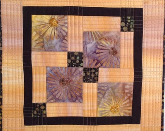 Batik Wall Art, Mini Quilt, Yellow Brown Fiber Art, Wall Hanging, Small Wall Quilt, Quiltsy Handmade, Stitchesnquilts