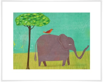 Elephant and Red Bird Art Print