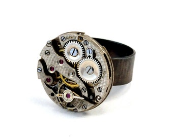 Steampunk Ring, Sterling Silver, Watch Ring, Watch Movement Ring, Adjustable