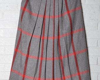Vintage Wool Plaid Red Brown Pleated Pleats Skirt