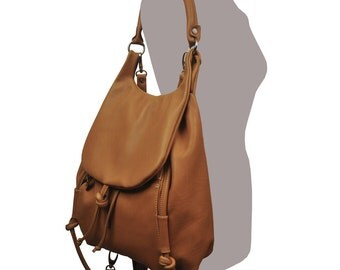 Handmade leather backpack, named Daphne in Camel color MADE TO ORDER
