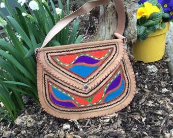 Embriodered Indian Leather Bag, Sactual Bag