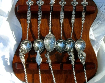SALE Antique Collectible Spoons from Burma with Wooden Caddy