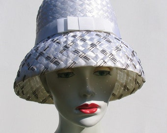 Vintage style cellophane straw cloche hat made with vintage Racello - black white hat - 50s 60s style