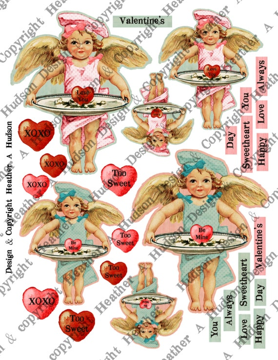 Victorian Vintage Valentine's Day Shabby Pink & Aqua Cherub Angel Hearts Digital Collage sheet Printable
