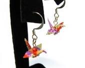 Half Off SALE Origami Crane Earrings Playful Paper Crane Earrings