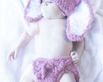0 to 3m Plum Bunny Diaper Cover Set, Bunny Hat Set Newborn Girl Baby Hat, Bunny Ears Photo Prop Baby Shower Gift Newborn Hat, Easter Gifts