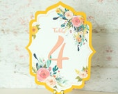 Sansa Floral Wedding Table Numbers Sets, Table Cards, Table Markers, Tabel Markers - Customize Border Color