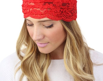 SALE - RED LACE headband, red wide lace headband
