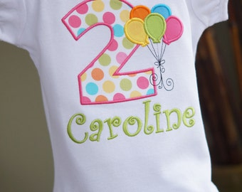 Balloon Bunch Toddler Tee Shirt - Birthday Balloons - ANY AGE - First, Second, Third, Fourth, Fifth Birthday - Party - Pictures